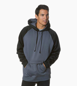 Independent trading company expedition series men s poly tech raglan pullover hood   charcoal black