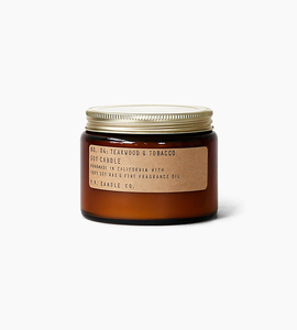 Pf candle co 14 oz double wick soy candle   teakwood   tobacco