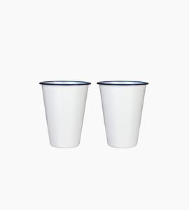 W p design enamel cocktail tumblers set of 2   white