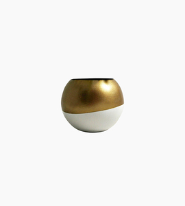Sea   asters gold white wood sphere planter   white   gold